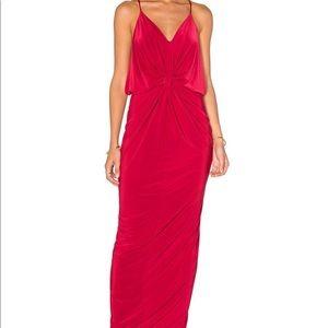 MISA DOMINO knot twist front knit maxi dress